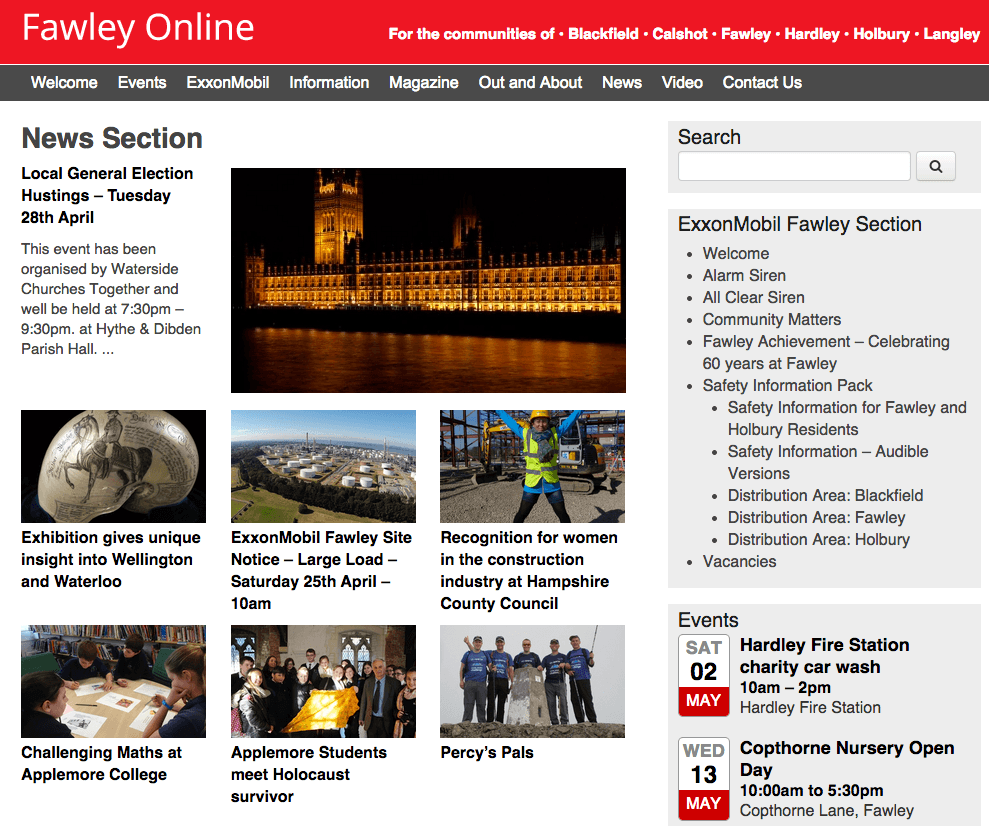 Fawley Online Website powered with Ultimatum